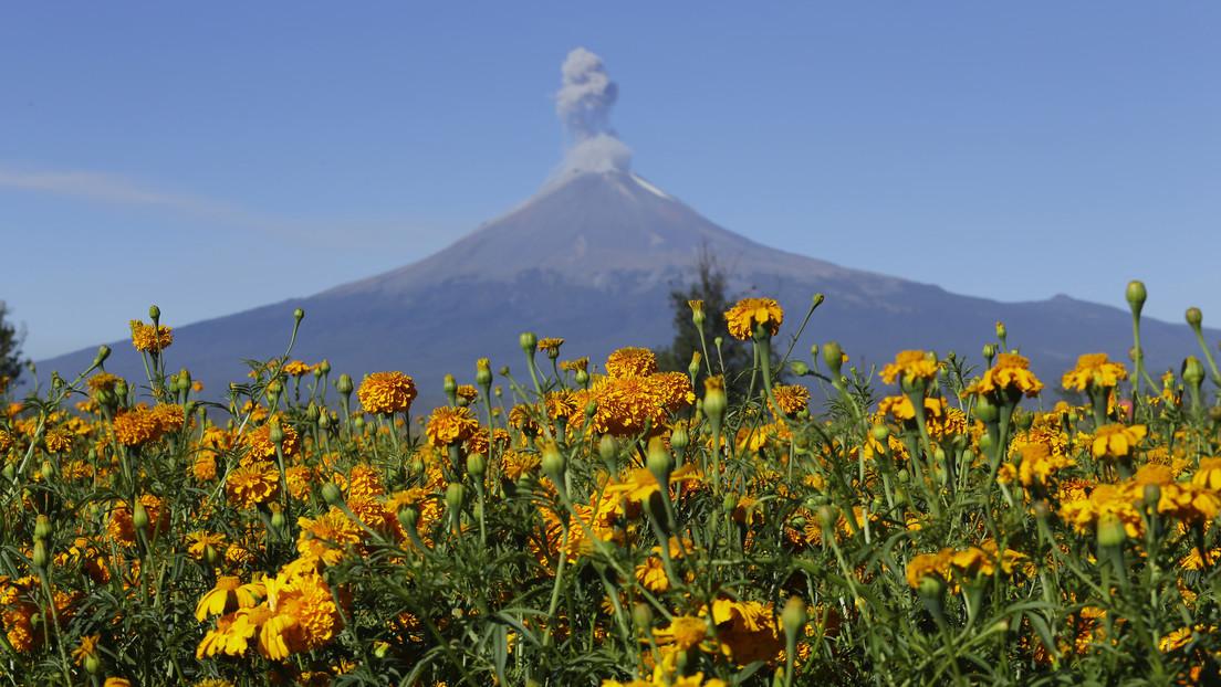 VIDEO: El volcán Popocatépetl emite una columna de cenizas y gases de un kilómetro de altura
