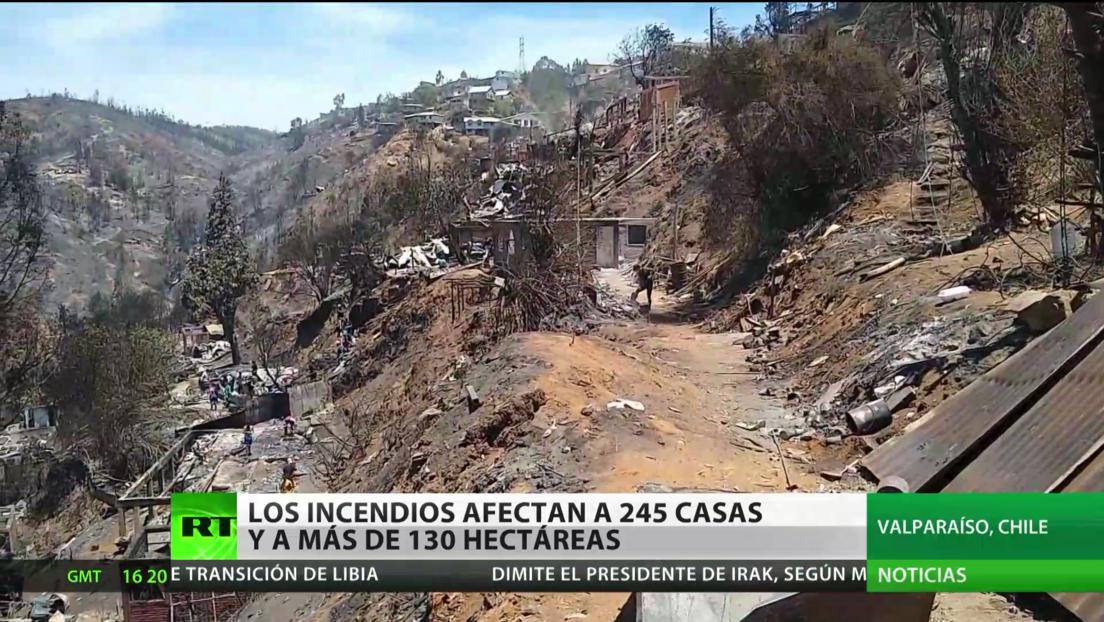 Chile: Los incendios afectan a 245 casas y más de 130 hectáreas