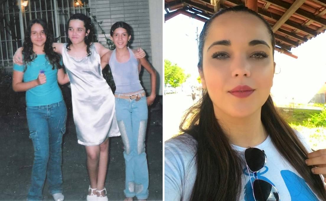 Nina Souza a la edad de 13 años y en la actualidad.