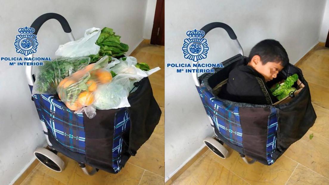 Encuentran a un niño de 10 años cruzando la frontera con España escondido en un carrito de la compra
