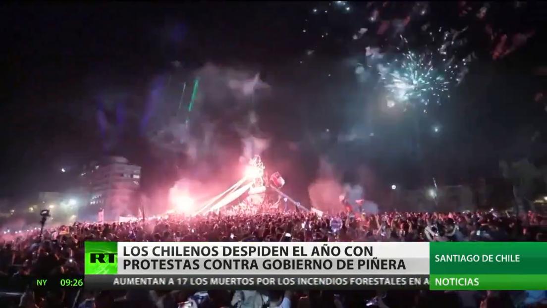Los chilenos despiden el año con protestas contra el Gobierno de Piñera