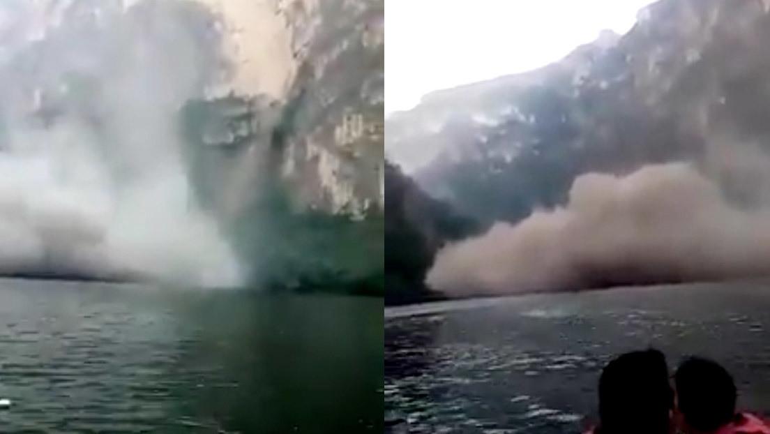 VIDEO: Turistas captan el momento del desplome de una pared del Cañón del Sumidero en México