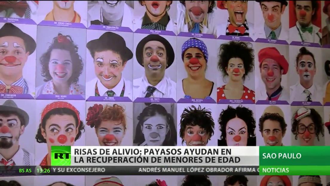 Payasos ayudan en la recuperación de menores de edad en Brasil