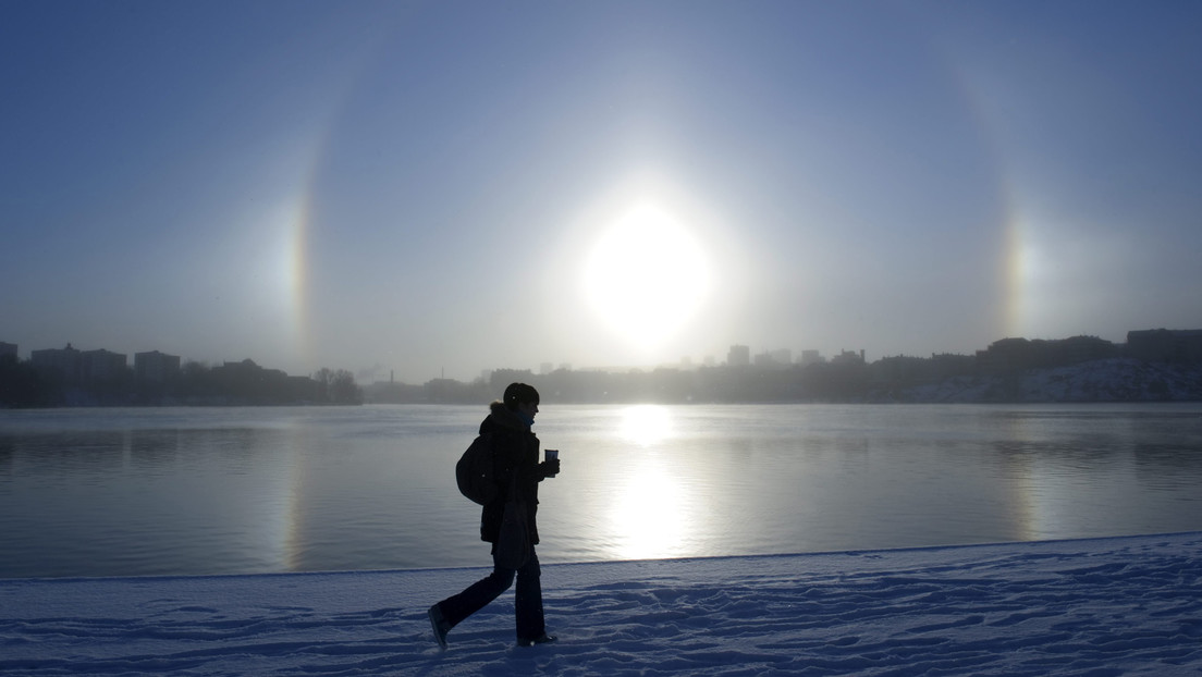 Spectacular optical phenomenon: three suns in a Chinese city