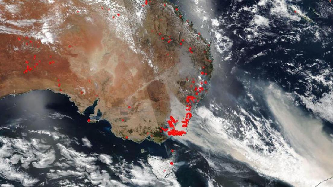 Captan desde el espacio los devastadores incendios forestales que azotan Australia
