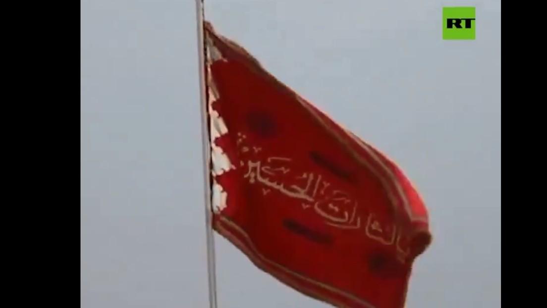 VIDEO: Izan una bandera roja 'de venganza' sobre una mezquita en una ciudad sagrada de Irán
