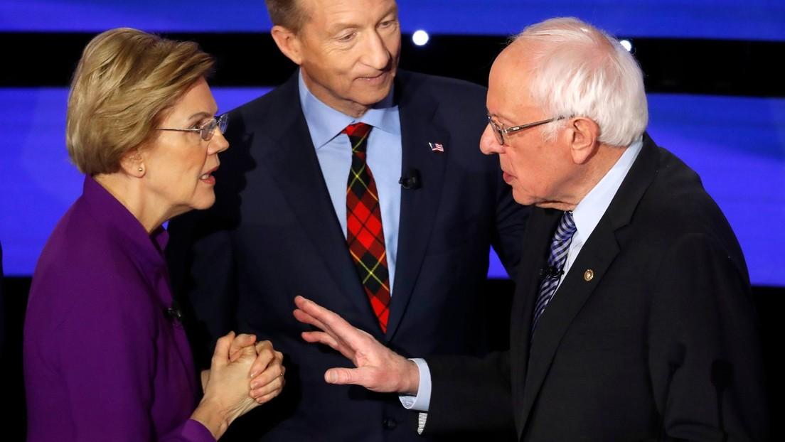 VIDEO: Elizabeth Warren se niega a darle la mano a Bernie Sanders tras un debate de candidatos demócratas