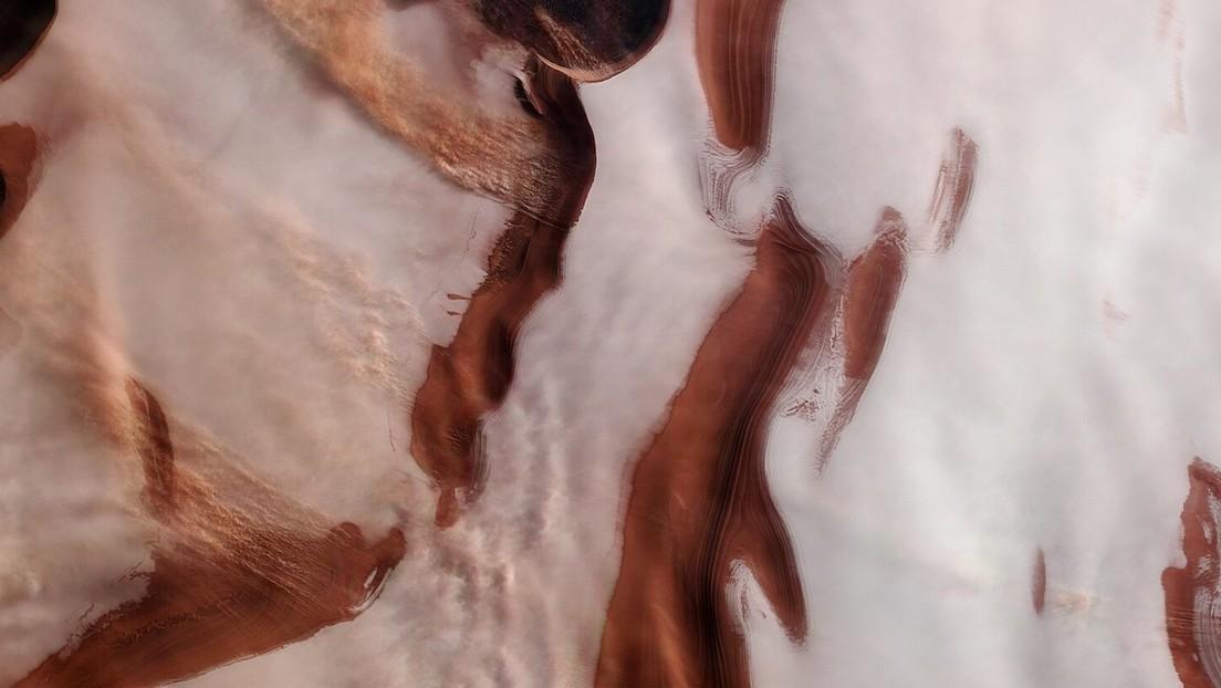 Así se ve en 3D el tormentoso polo norte de Marte
