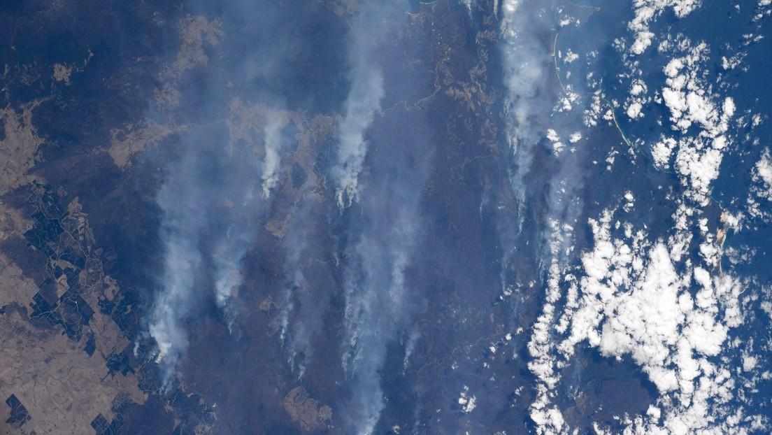FOTOS: Una astronauta capta impresionantes imágenes de densas columnas de humo sobre Australia