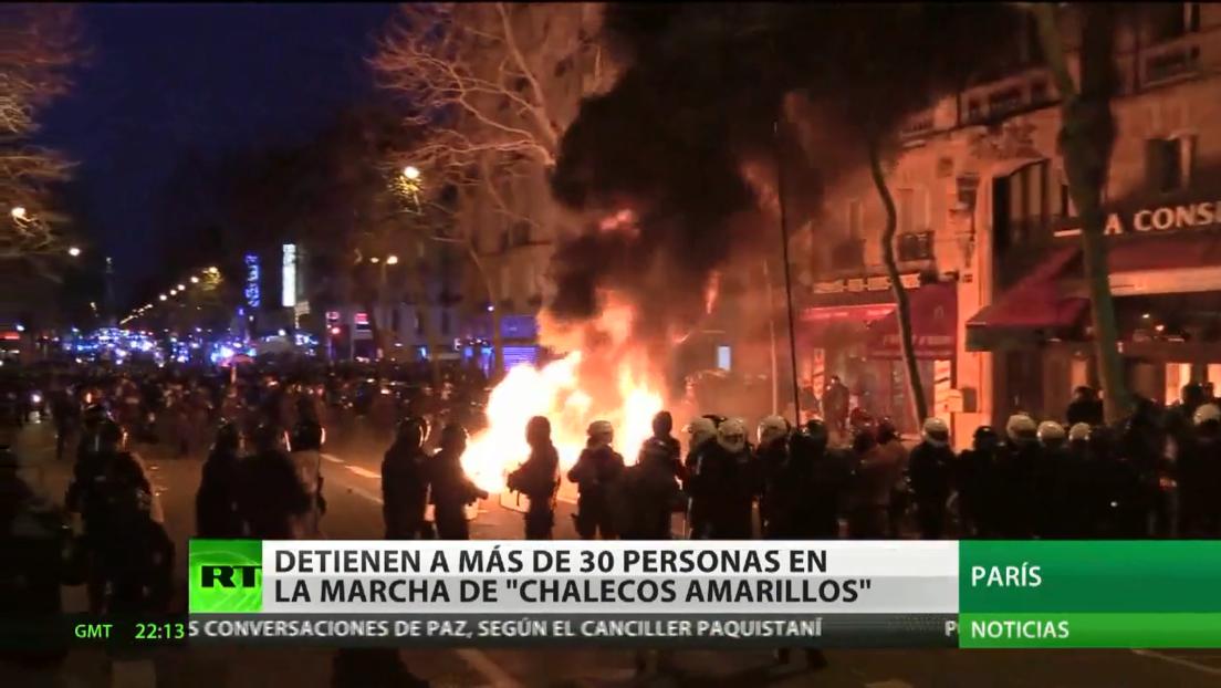 Más de 30 detenidos durante protestas de los 'chalecos amarillos' en la 62.ª semana de manifestaciones