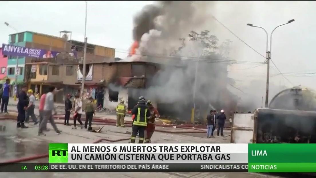 Perú: Al menos seis muertos al explotar un camión cisterna que portaba gas
