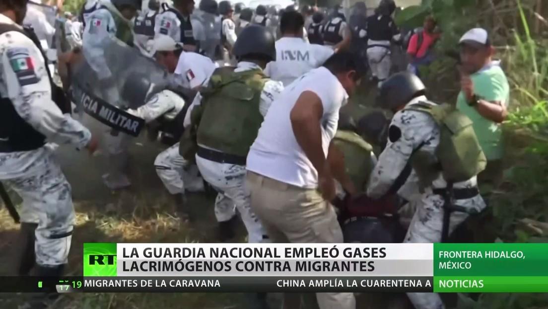La Guardia Nacional de México emplea gases lacrimógenos contra migrantes