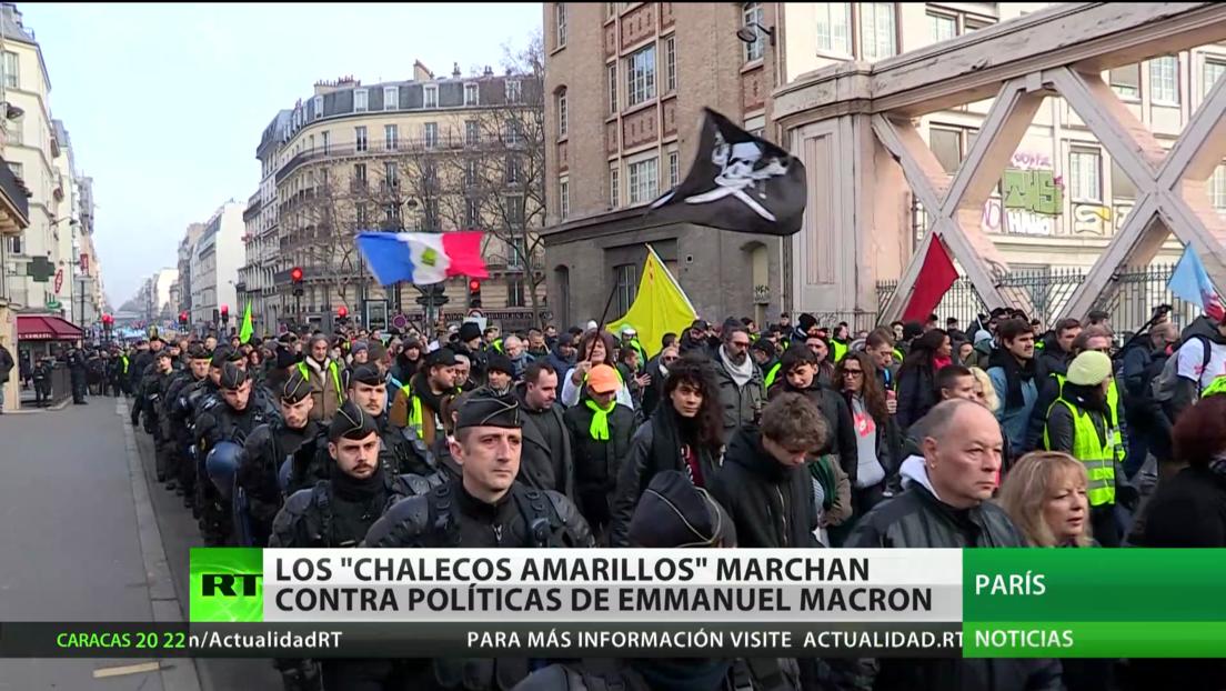 Los 'chalecos amarillos' marchan contra las políticas de Macron en la 63.ª semana de manifestaciones