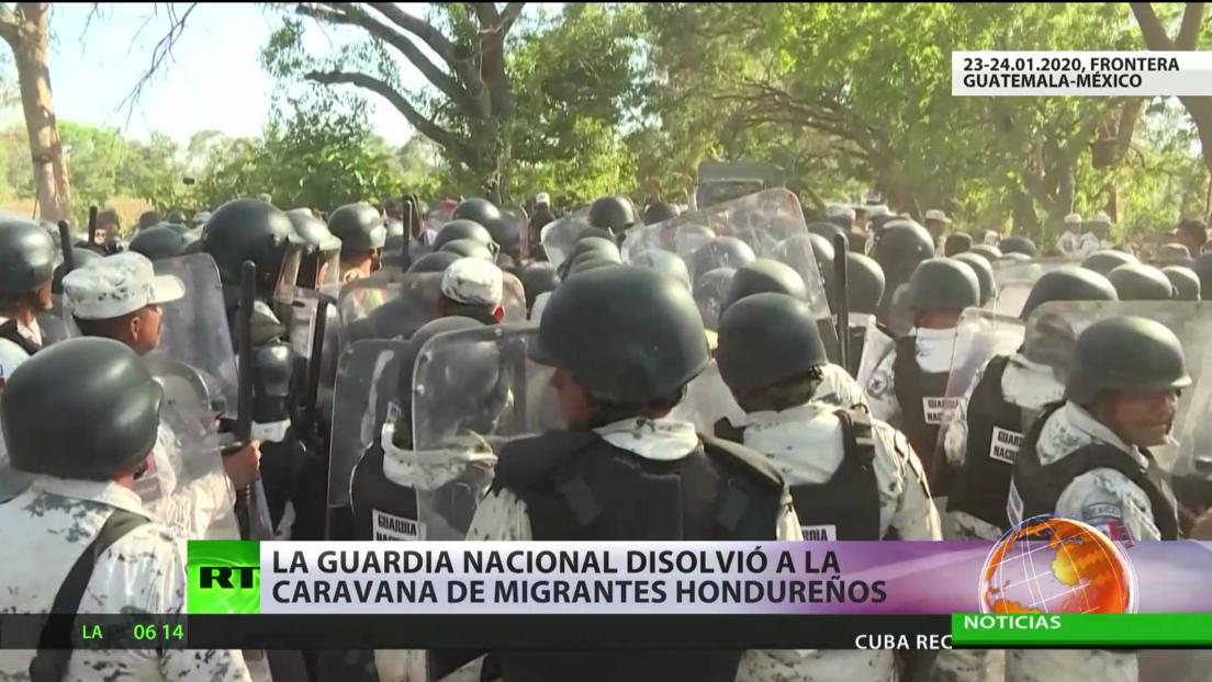 La Guardia Nacional de México disolvió la caravana de migrantes hondureños