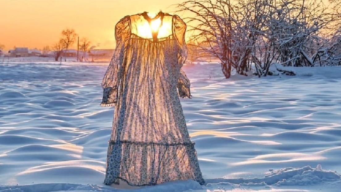 FOTOS: Una siberiana fotografía ropa congelada por el frío y muestra el poder de las heladas en Rusia