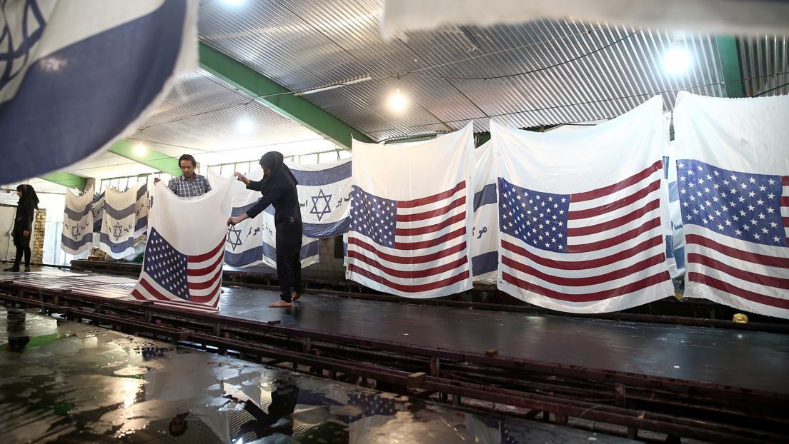 Una fábrica iraní se especializa en banderas de EE.UU., Israel y Reino Unido destinadas a ser quemadas