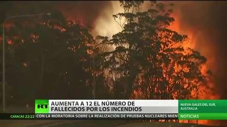 Aumenta a 12 el número de fallecidos por los incendios en Australia