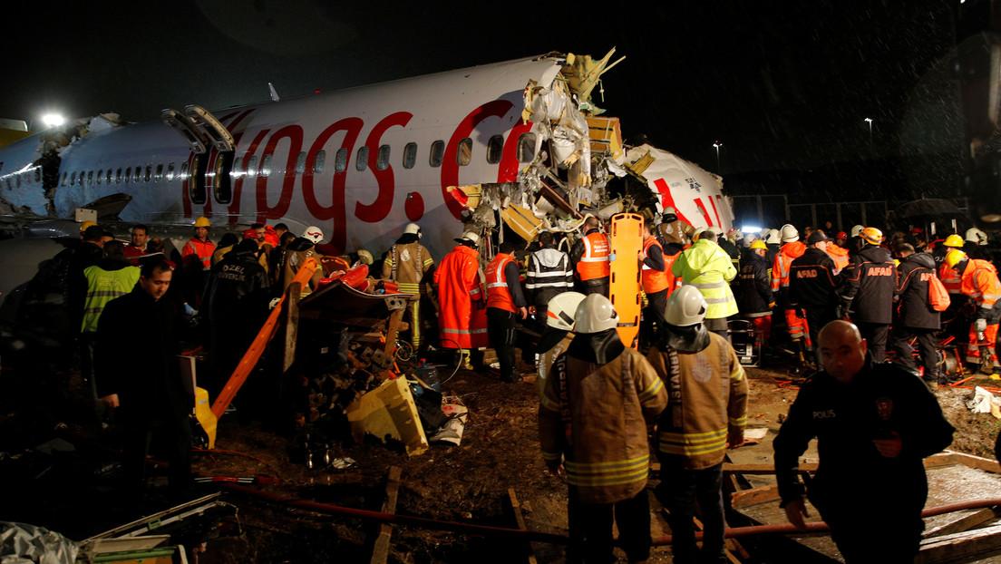 El accidentado aterrizaje del avión que se partió en Estambul fue causado por malas condiciones climáticas
