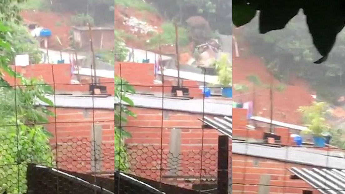 VIDEO: Un alud de lodo provocado por las fuertes lluvias sepulta varias viviendas en Brasil