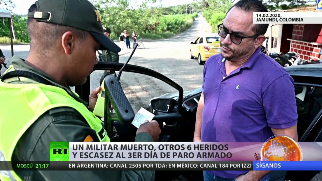 Muere un militar y otros seis resultan heridos durante el tercer día del paro armado en Colombia