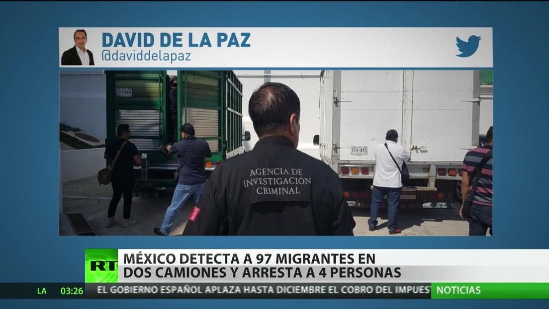 México detecta a 97 migrantes en dos camiones y arresta a cuatro personas