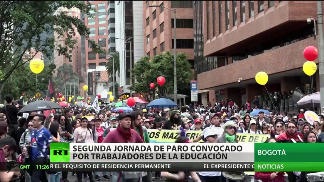 Segunda jornada de paro convocado por trabajadores de la educación en Colombia