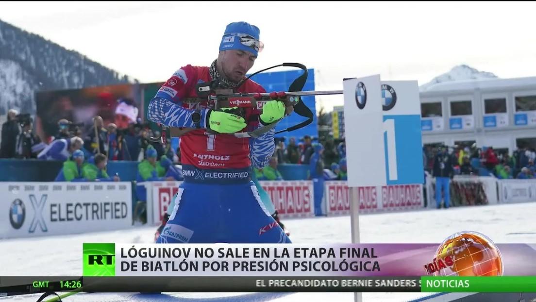 El ruso Lóguinov no sale en la etapa final de biatlón tras el registro policial