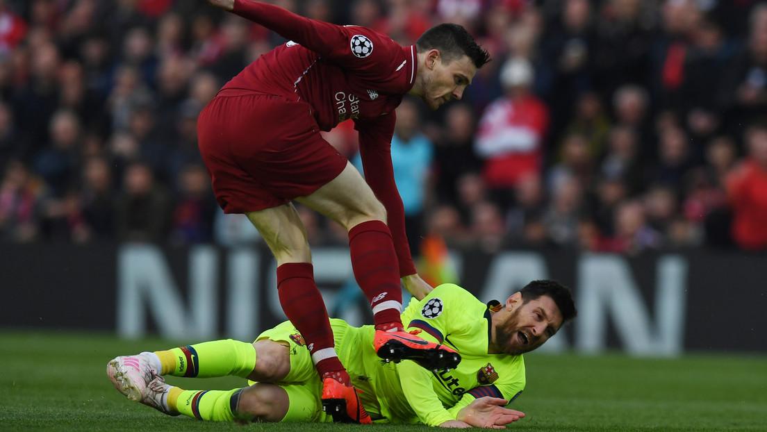 Un jugador del Liverpool se arrepiente del golpe que le dio a Messi en la semifinal de la pasada Liga de Campeones  (VIDEO)
