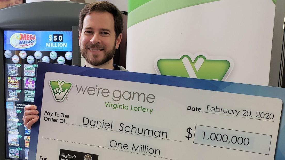 Un hombre estadounidense juega a la lotería una única vez gracias a su esposa y le toca un millón de dólares