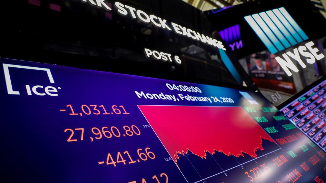 El Dow Jones cae otros 500 puntos por el temor a la propagación del coronavirus