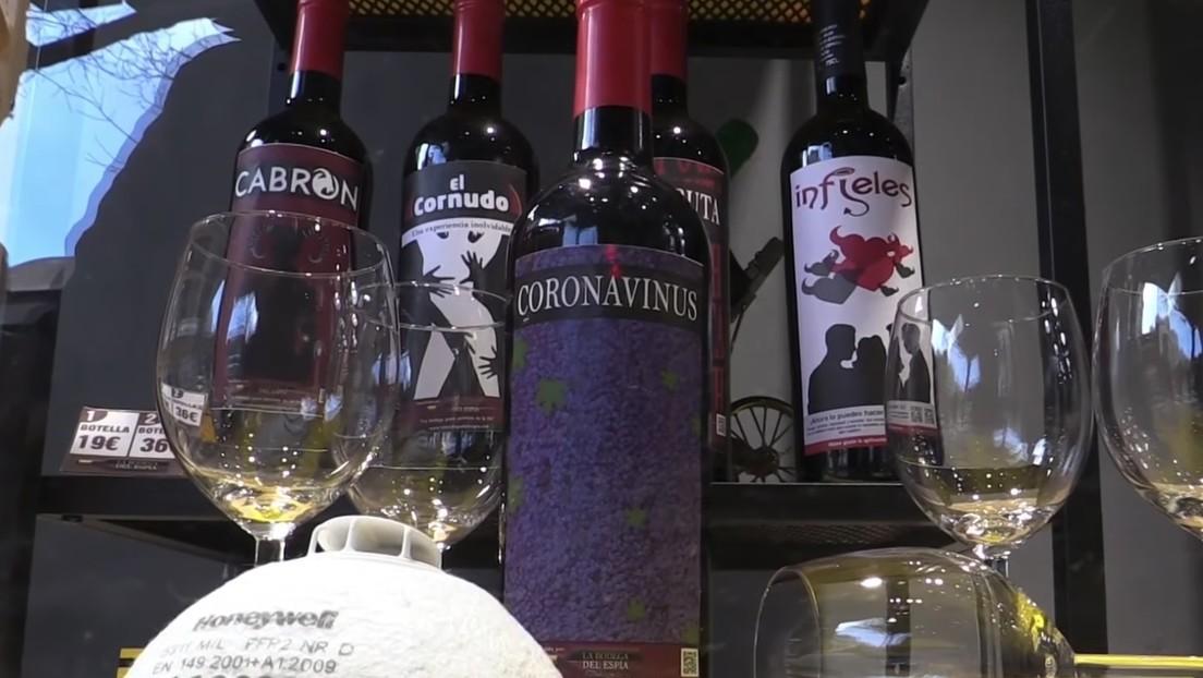 VIDEO: Venden botellas de vino Coronavinus en España para aliviar la preocupación por el covid-19