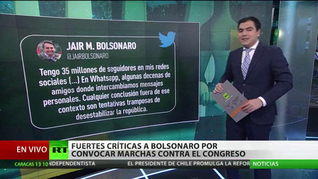 Fuertes críticas a Bolsonaro por convocar marchas contra el Congreso y el Supremo Tribunal Federal