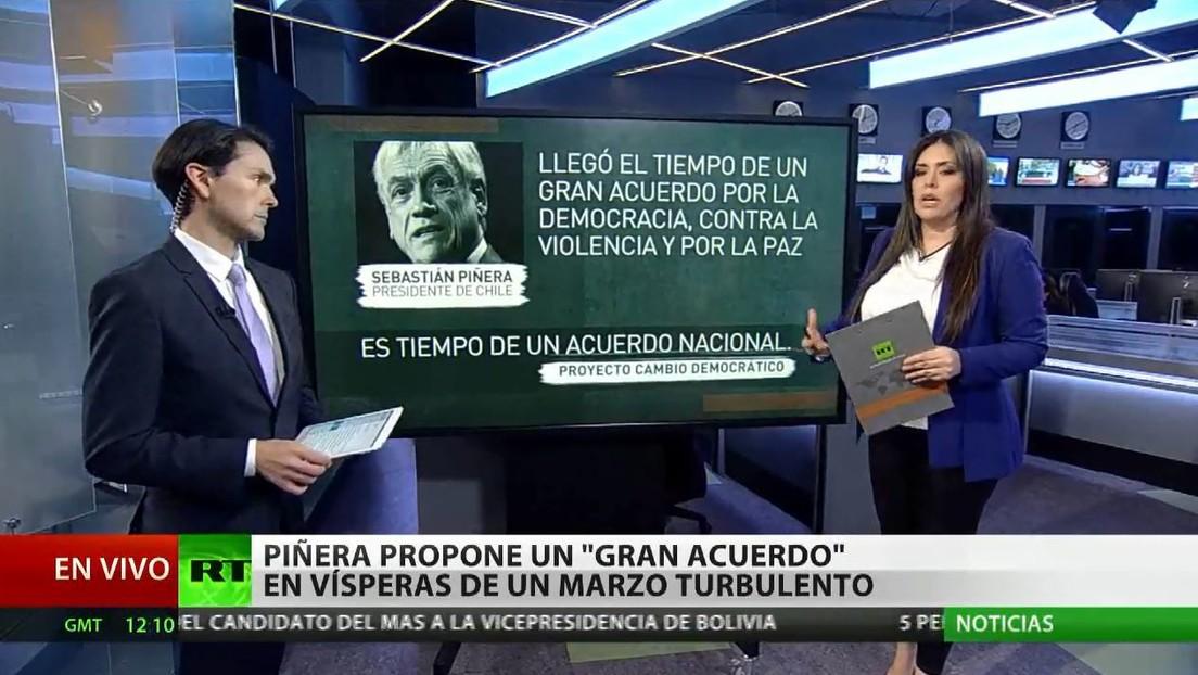 """Piñera propone un """"gran acuerdo"""" en vísperas de un marzo turbulento"""