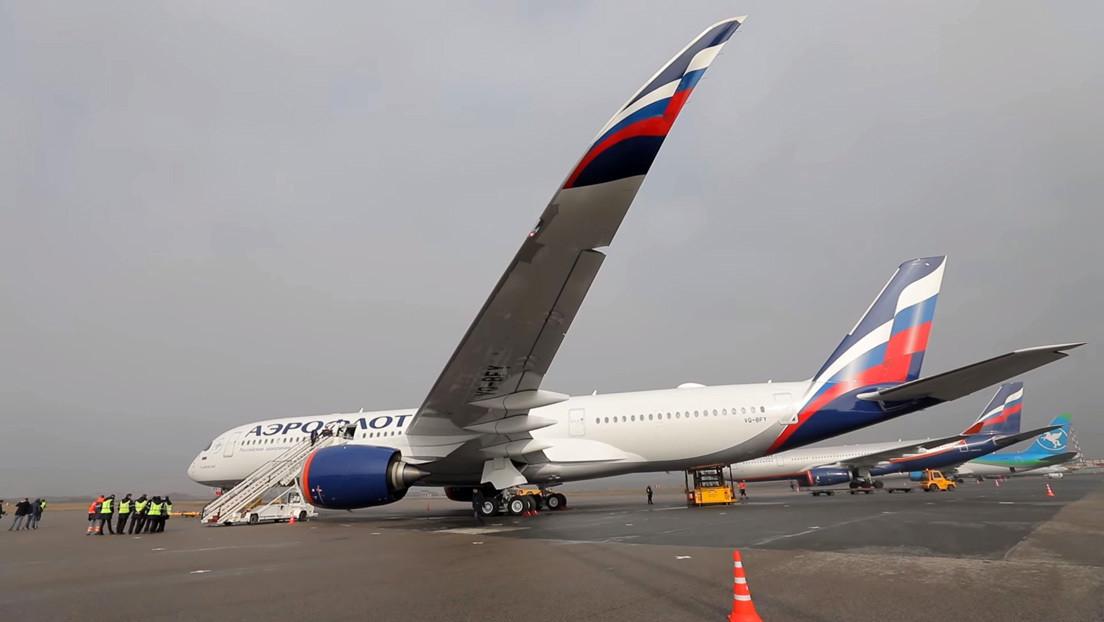 VIDEO: Aeroflot estrena su primer Airbus A350, un avión con butacas-cama y barra de bar