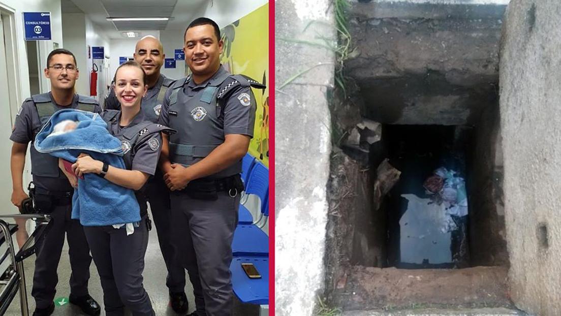 Policías de Brasil rescatan con vida a una bebé abandonada dentro de una alcantarilla