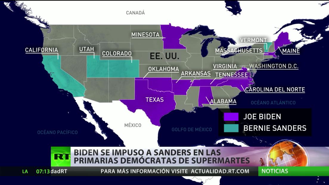 Joe Biden se impone a Bernie Sanders en las primarias demócratas del Supermartes