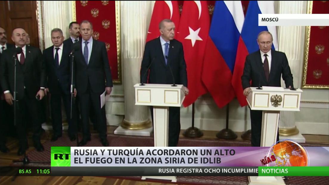 Rusia y Turquía acordaron un alto de fuego en la zona siria de Idlib y crean allí un corredor de seguridad