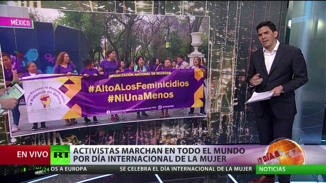 Activistas marchan en todo el mundo por el Día Internacional de la Mujer