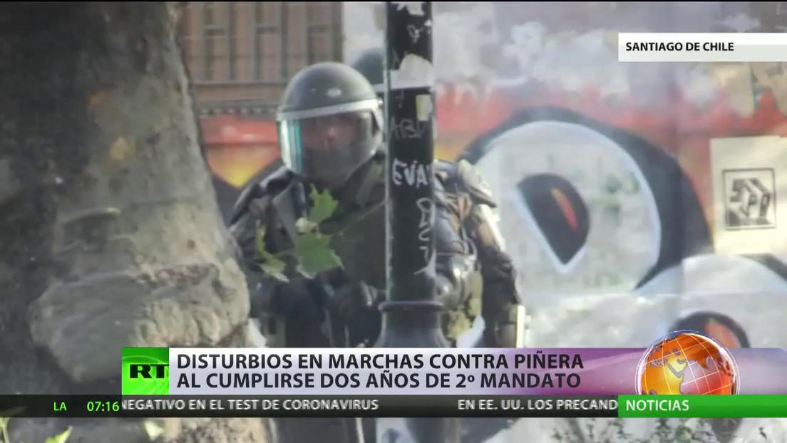 Disturbios en marchas contra Piñera al cumplirse dos años de su segundo mandato