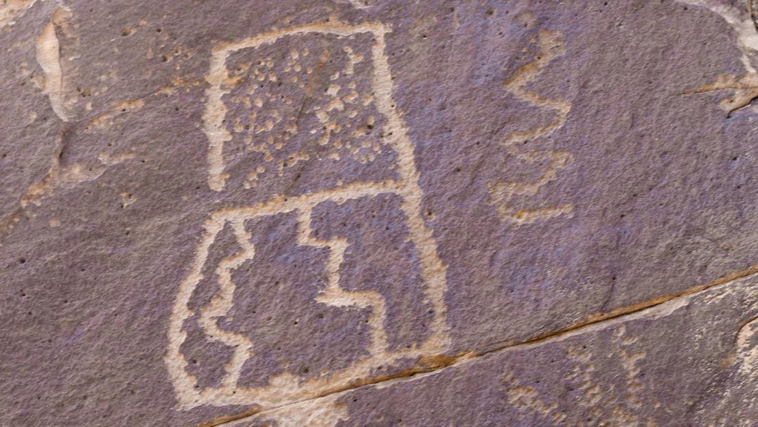 Descubren en Irán un extraño petroglifo mitad hombre, mitad mantis religiosa (FOTO)