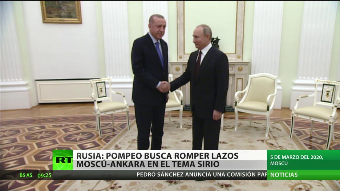 Rusia estima que Pompeo busca romper los lazos entre Moscú y Ankara respecto a Siria