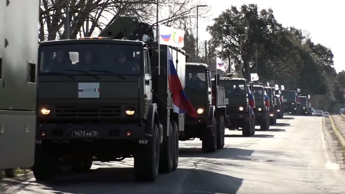 Convoy militar ruso se dirige a Bérgamo para ayudar en la lucha contra el coronavirus (VIDEO)