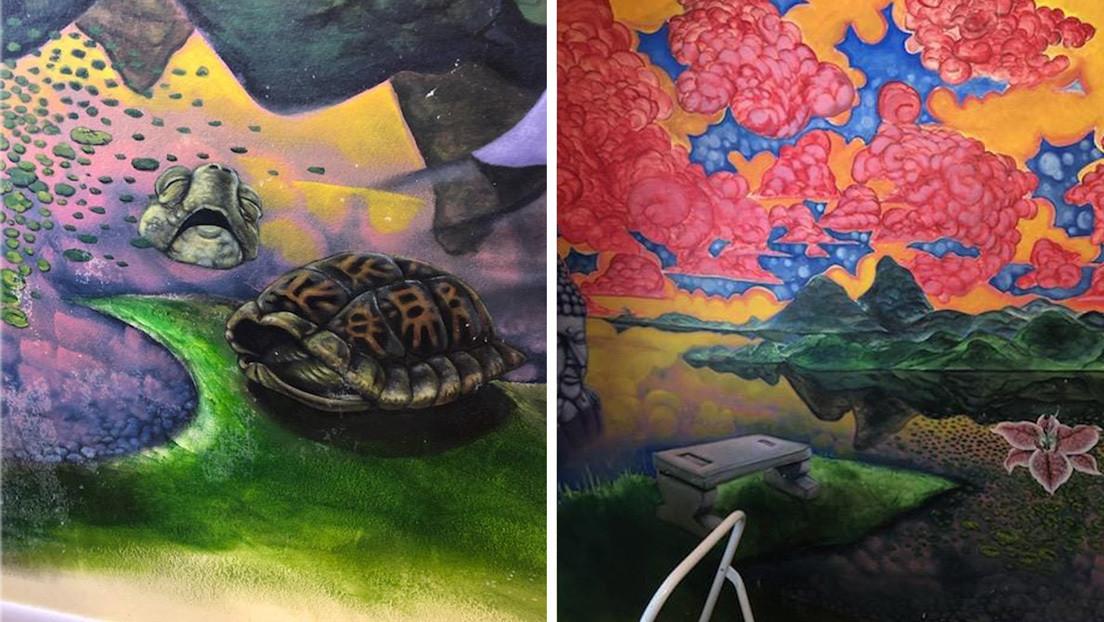 FOTOS: Descubre un enorme mural oculto en su casa luego de que su gato arrancara el empapelado