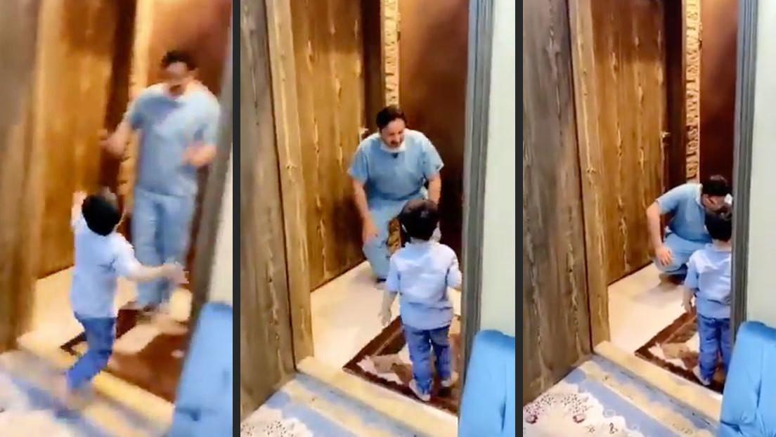 VIDEO: Un médico rompe en llanto tras rechazar el abrazo de su hijo al llegar a casa
