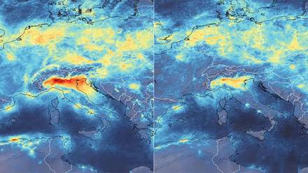 Fluctuación de emisiones de dióxido de nitrógeno entre el 1 de enero y el 11 de marzo de 2020.