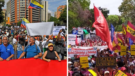 El chavismo y la oposición miden sus fuerzas con dos movilizaciones hasta el centro de Caracas