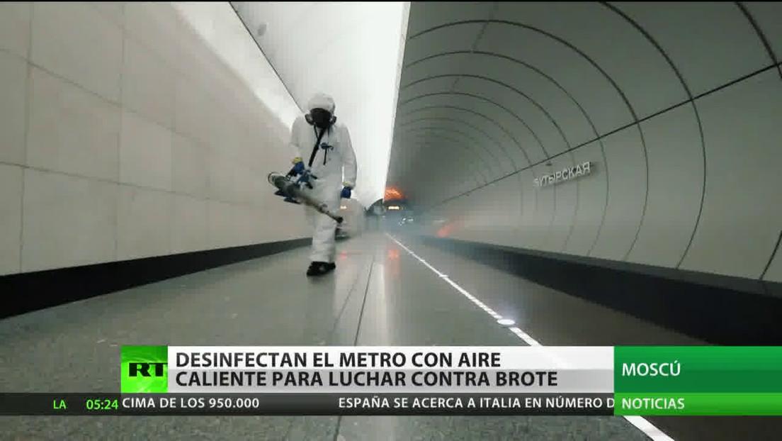 Desinfectan el metro de Moscú con aparatos de aire caliente para frenar el brote del coronavirus