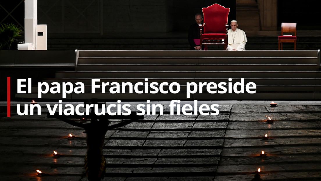 VIDEO: El papa Francisco preside un viacrucis sin fieles