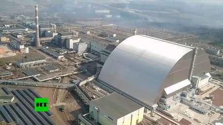 VIDEO: Vista aérea de la planta nuclear de Chernóbil 34 años después de la catástrofe
