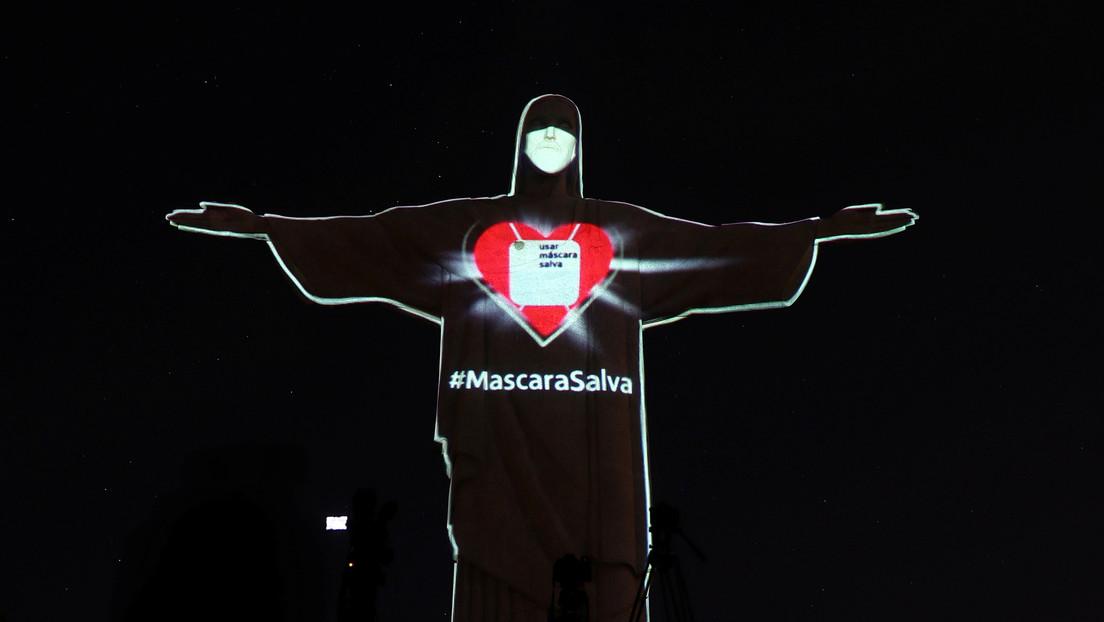 """El Cristo Redentor de Brasil se """"pone"""" una mascarilla para concienciar del coronavirus"""